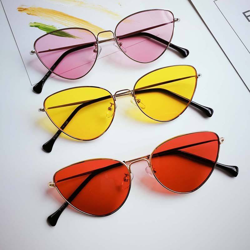 711a22063c4 Retro Cat Eye Sunglasses Women Yellow Red Lens Sun glasses in 2019 ...