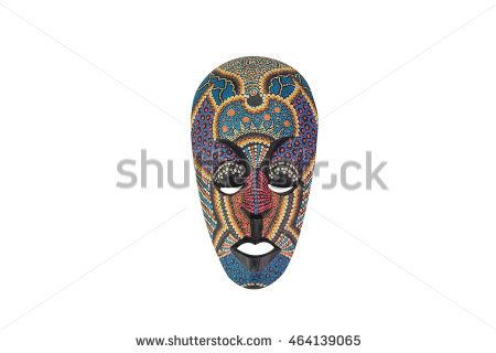 colorful mask make from wood for decorate on isolated background
