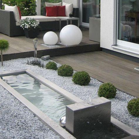 Brunnen Aus Edelstahl Patio Garden Design Minimalist Garden