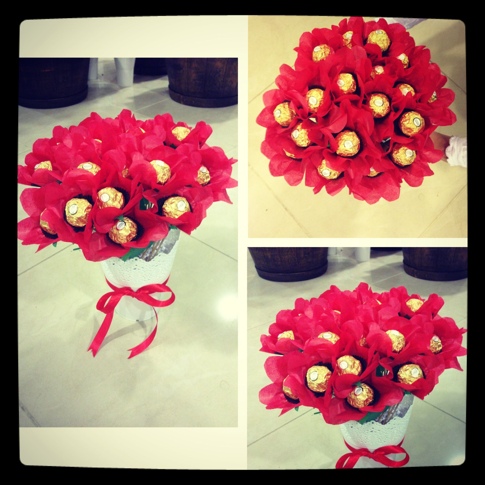 Chocolate bouquet on pinterest candy flowers bouquet of chocolate - Ferrero Rocher Chocolate Bouquet Red Flowers With White Plant Pot