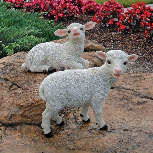 Baa-Ba & Lamb-Chop Baby Sheep Garden Statues. Home & Yard Products & Gifts.