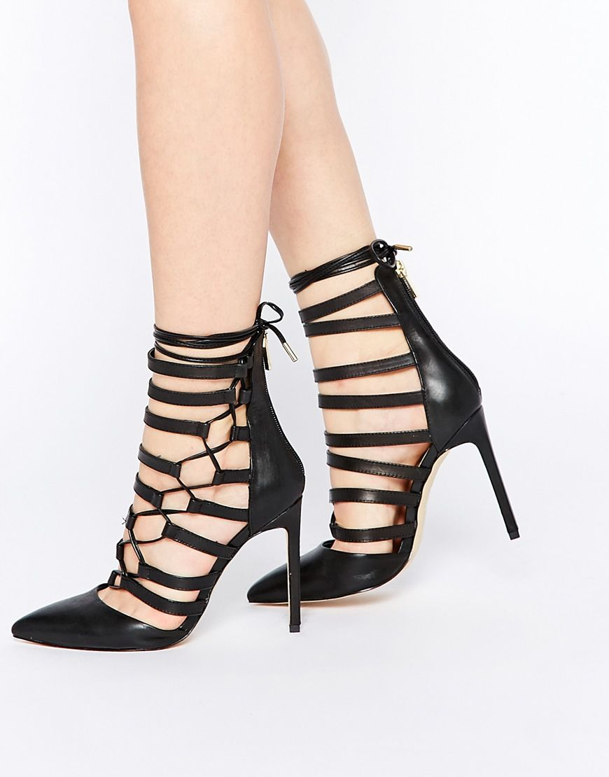 Buy Women Shoes / River Island Caged Heeled Sandal With Gold Trim