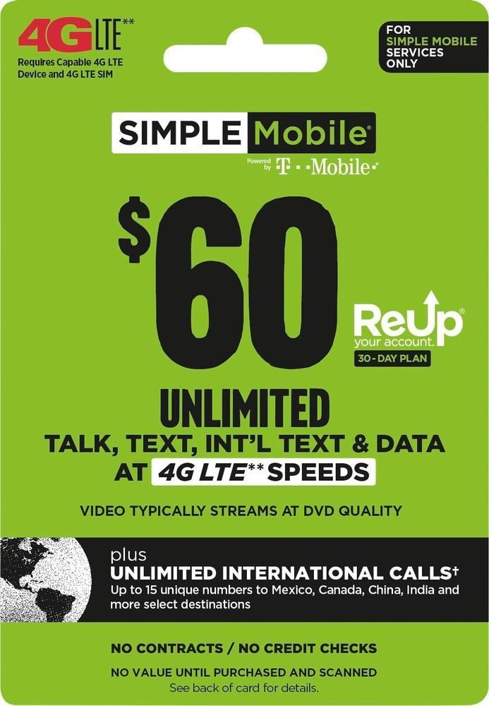 Simple Mobile - $60 ReUp Prepaid Airtime Card | Products