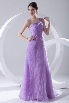 9505afa91d5 Robe longue de soirée lilas encolure asymétrique ruchée