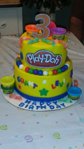 Admirable Play Doh Birthday Cake Playdough Party Birthday Party Cake Personalised Birthday Cards Veneteletsinfo