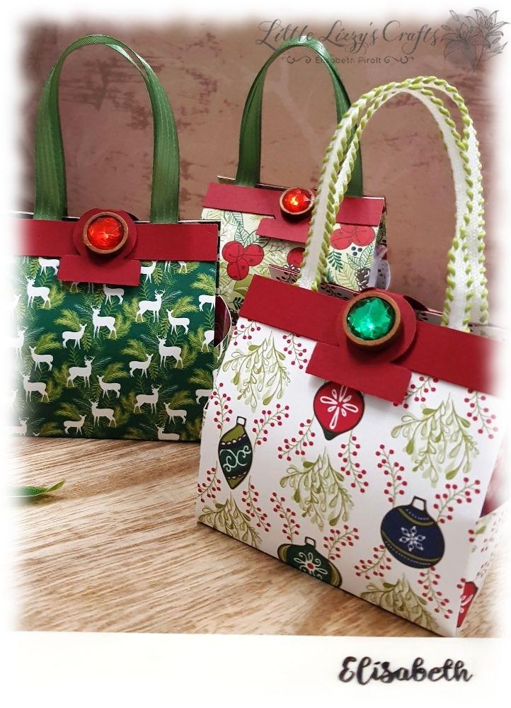 Kleine Handtaschen für Mini Lebkuchen mit DSP Weihnachtsfreuden