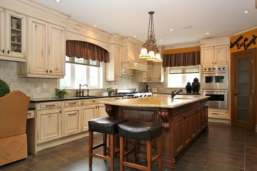 Best Like The Distressed Cream Cabinets With Dark Island And 400 x 300