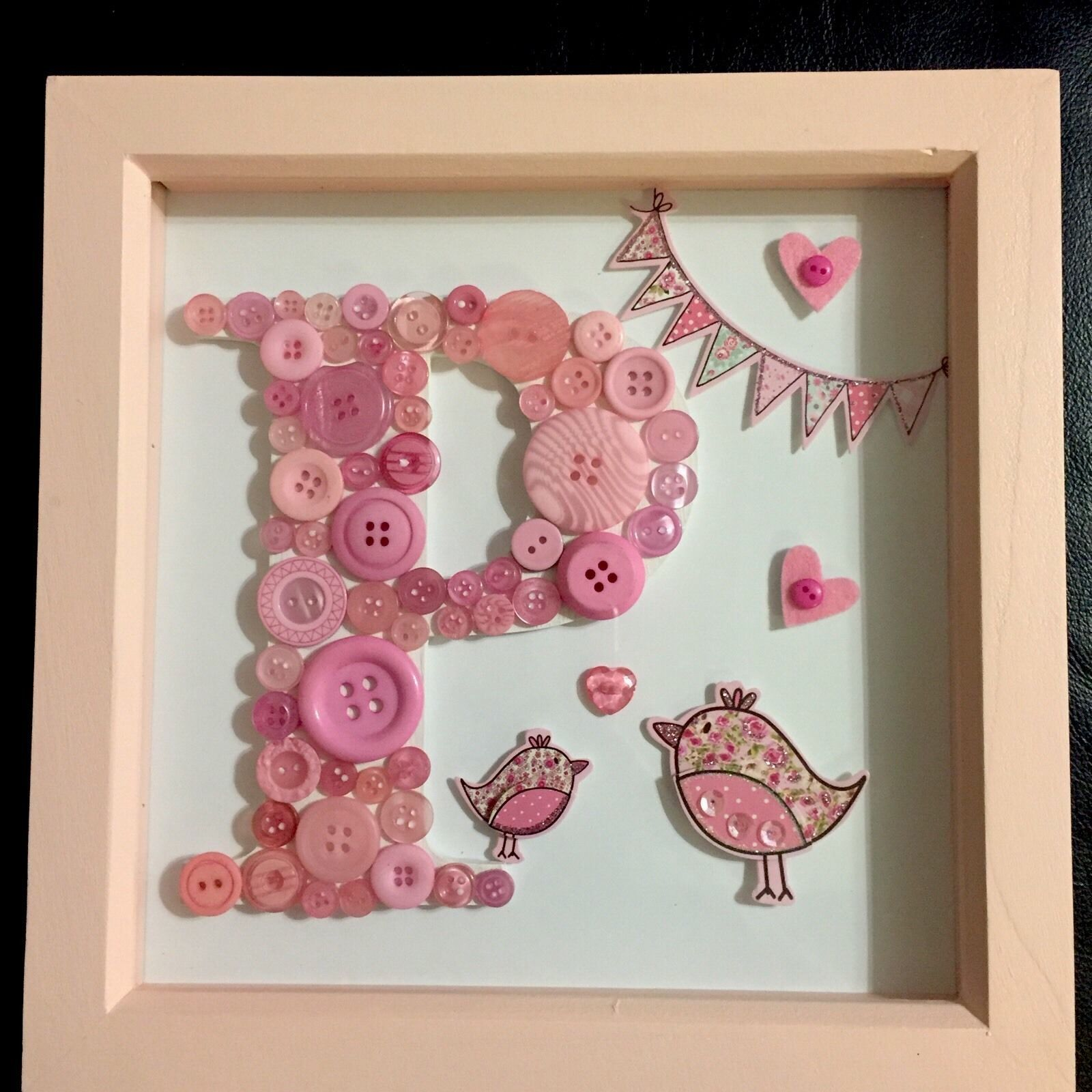 Beautiful Handmade Button Letter/Initial In Frame*Gift*Girl*Baby ...