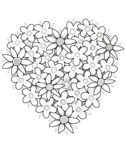 Hearts Flowers Coloring Pages For Kids Disney Coloring Pages Valentine Coloring Pages Heart Coloring Pages Flower Coloring Pages