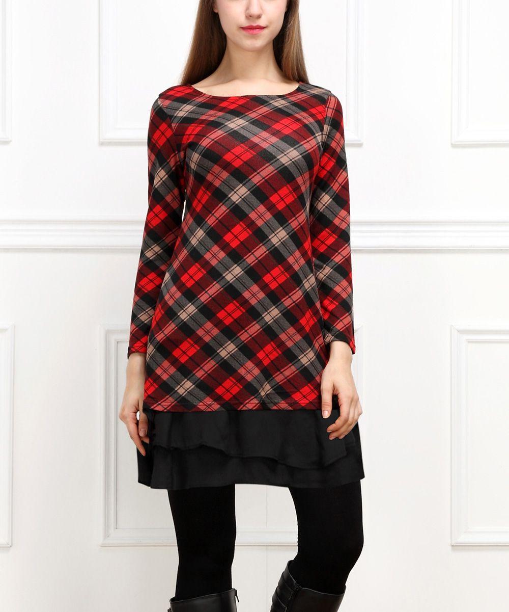 Reborn Collection Red & Black Plaid Ruffle-Hem Dress - Women   zulily