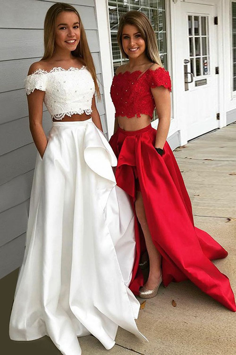 Two Piece Off The Shoulder Short Sleeves Fuchsia Prom Dress With Pockets Psk120 Cute Prom Dresses Prom Dresses Long Lace White Prom Dress [ 1500 x 1000 Pixel ]