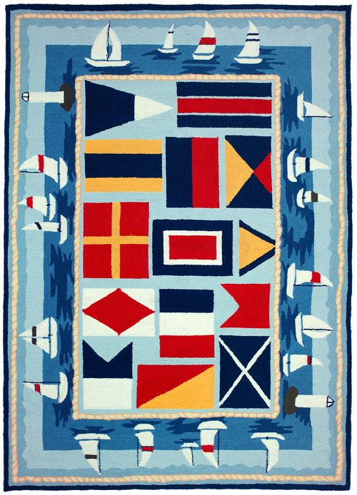 Bright primary colored signal flags surrounded by sailboats, all on ...