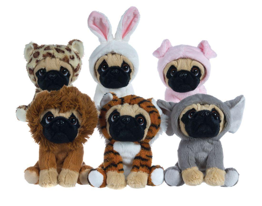 Plush Toys Pug 6 1 2 Pug Dog In 6 Costumes Onesy Cuddly Soft Toy