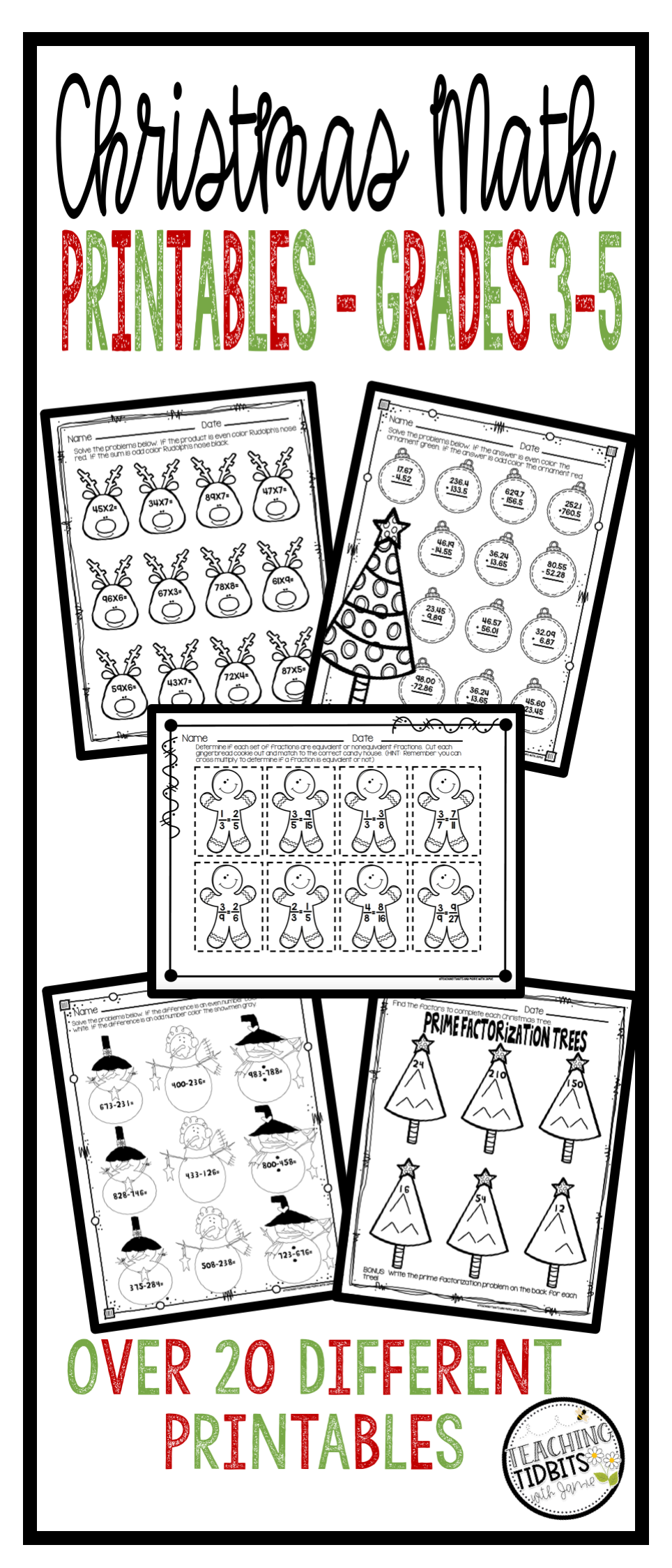 An easy to use print and go math resource is a must for the busy holiday  season! Sav…   Christmas math activities [ 2249 x 964 Pixel ]