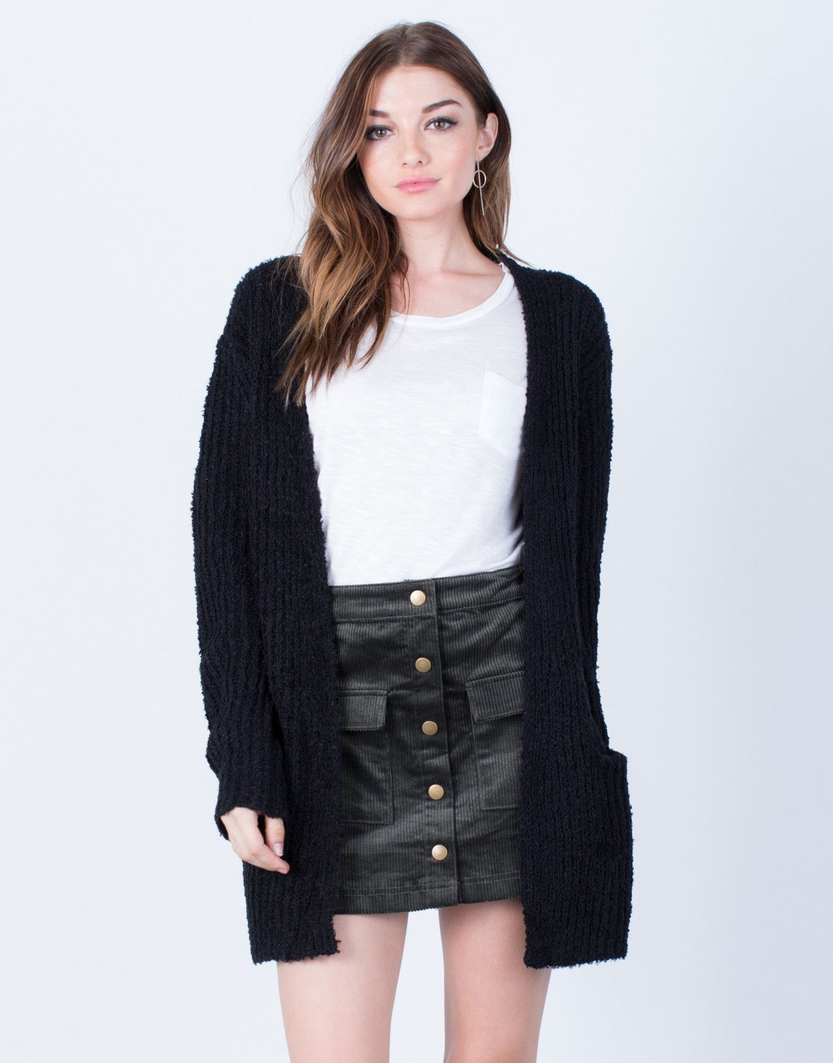 Soft Knit Chunky Cardigan | Chunky cardigan, Black and Fashion