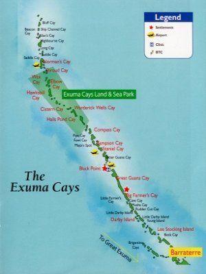 Exuma Bahamas Map Map of Exuma Cays, Bahamas   Travel in 2019   Exuma bahamas, Exuma
