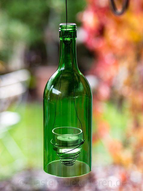 DIY Windlicht aus alter Flasche #weihnachtsdekobalkon