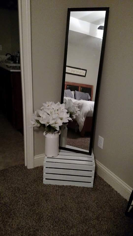 Walls Remain Intact By Just Leaning The Mirror Against While Standing It On A Crate This Would Be Cute For The Top Of The Stairs If There Is Space
