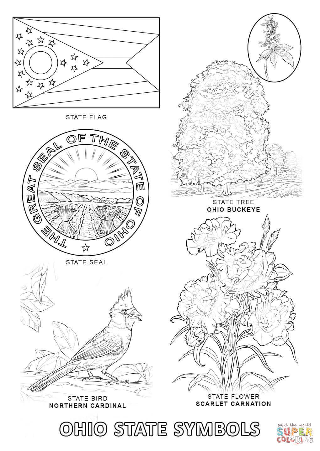 Ohio State Symbols Coloring Page Free Printable Coloring Pages State Symbols Free Printable Coloring Pages Colorado Art