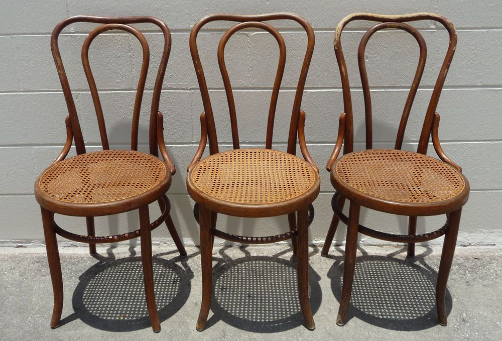 Details About Pair Of Antique Bentwood Thonet Cafe Chairs By