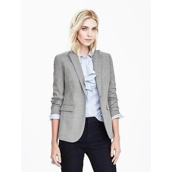 Banana Republic Womens Gray Lightweight Wool Blazer ($198 ...