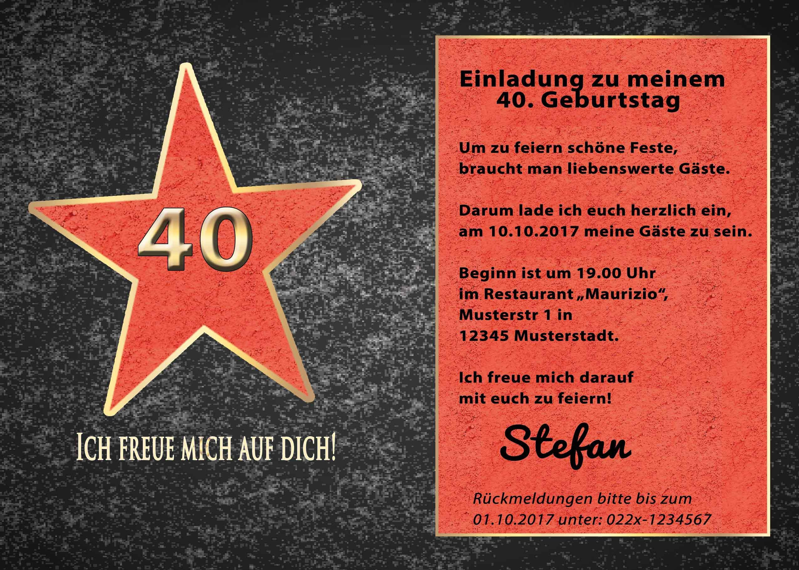 40 geburtstag einladungskarten