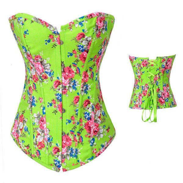 Sexy Slimming Lace-Up Floral Print Polyester Corset For Women, GREEN, XL in Corset & Bustiers | DressLily.com