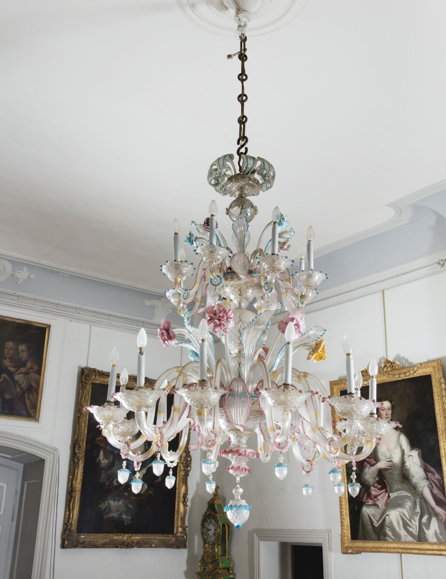 A Venetian Twenty Lights Murano Glass Chandelier Late 19th Century