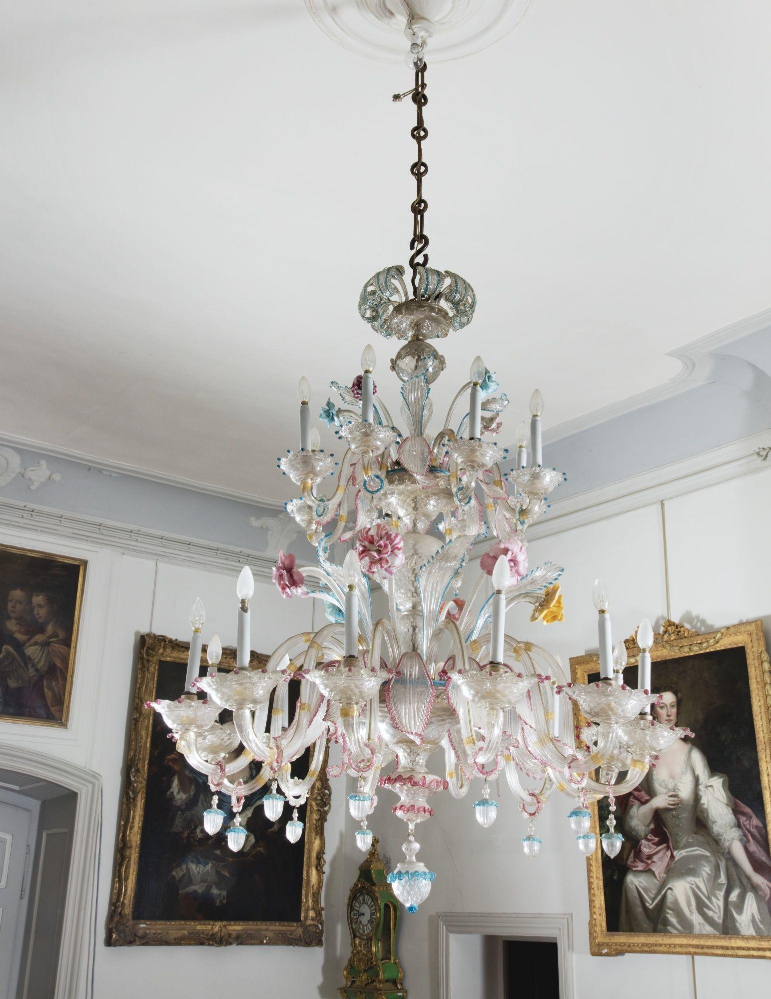 A VENETIAN TWENTY-LIGHTS MURANO GLASS CHANDELIER, LATE 19TH CENTURY - Antique Murano Chandeliers Italian Antique Lighting Alhambra