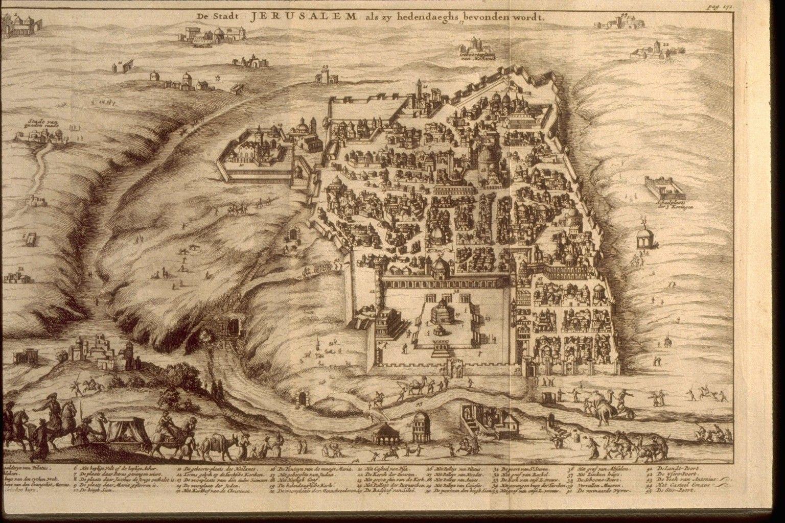jFRANCISCUS HALMA Dutch, 1653-1722 De Stadt JERUSALEM als zy hedendaeghs bevonden wordt