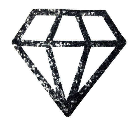 Iron On Diamond Patch Applique for Fashion by KBazaar on Etsy