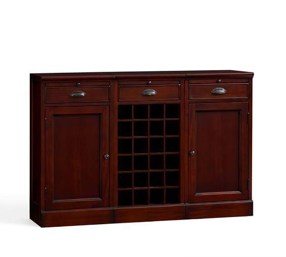 Modular Bar Buffet with 2 Cabinet Bases & 1 Wine Grid Base ...