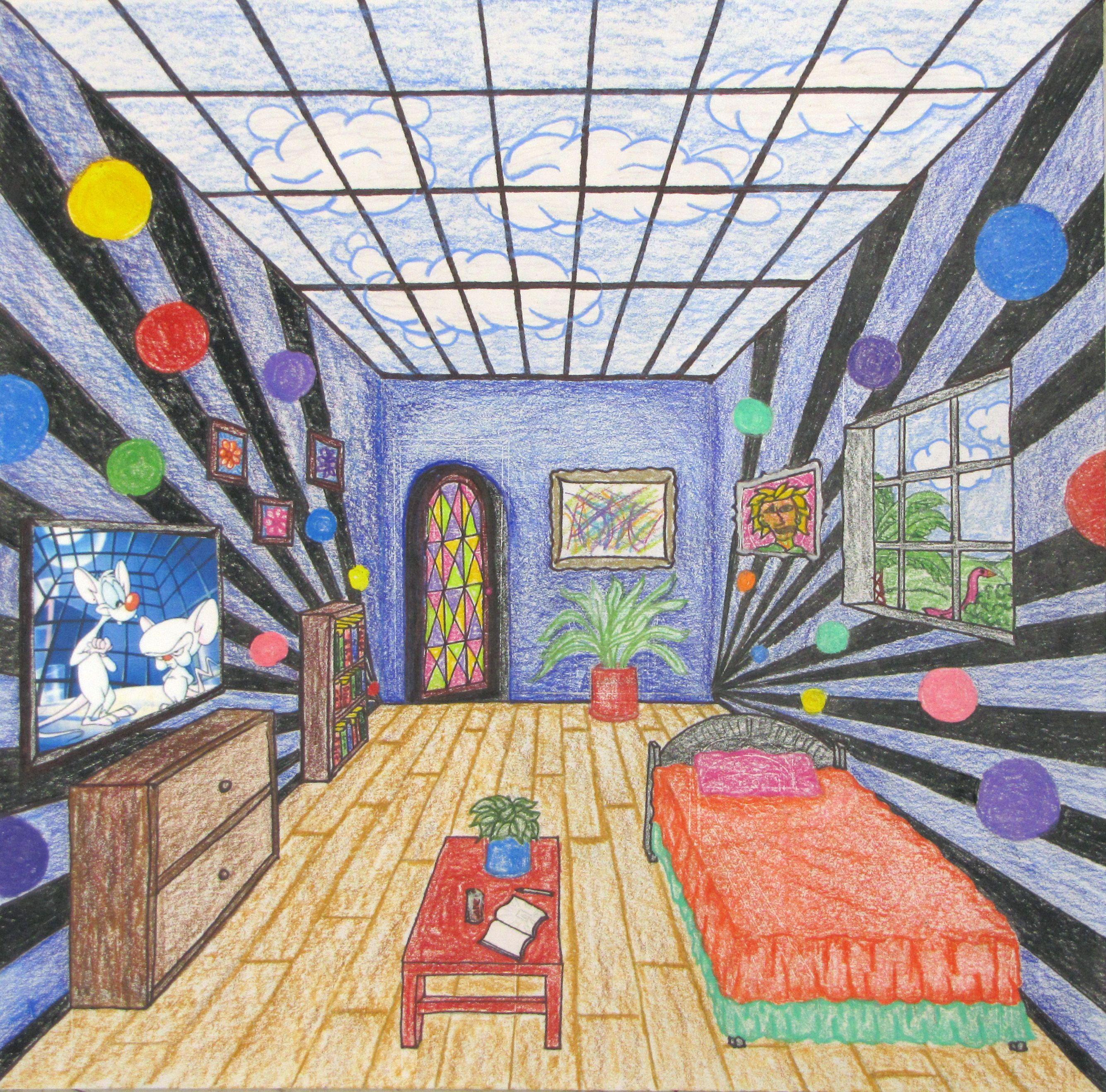Fantasy Rooms In 1 Point Perspective Art Classroom Elementary Art Homeschool Art