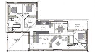 plan maison contemporaine en l