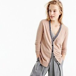 Classic V-neck tipped cardigan sweater