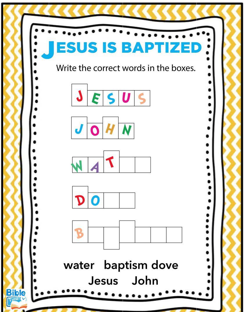 Free Jesus Is Baptized Preschool Worksheet Children S Church Bible Printable Baptism Of Je Preschool Bible Lessons Bible Lessons Preschool Bible Activities
