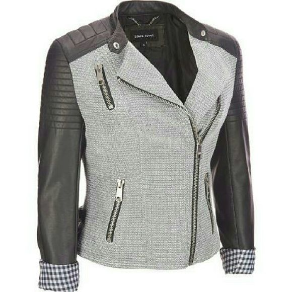 NWT Faux-Leather Moto Jacket Black Rivet Blocked Tweed Faux-Leather Moto Jacket. NWT. Purchased from Wilsons Leather. Jackets & Coats