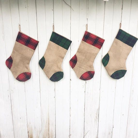 Plaid Flannel  Burlap Christmas Stocking- Red and Green Plaid