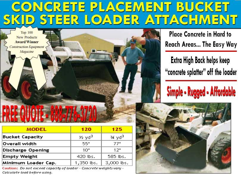 Concrete Placement Buckets Attachment For Skid Steer Loaders Material Handling Equipment Material Handling Placement