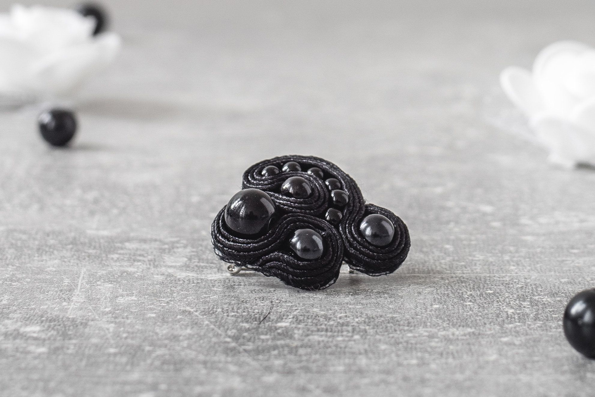 Black Gothic Brooch / Soutache Jewelry / Goth Jewelry / Vegan Leather / Handsewn Brooch / Gift for Her / Casual Goth Store #casualgoth