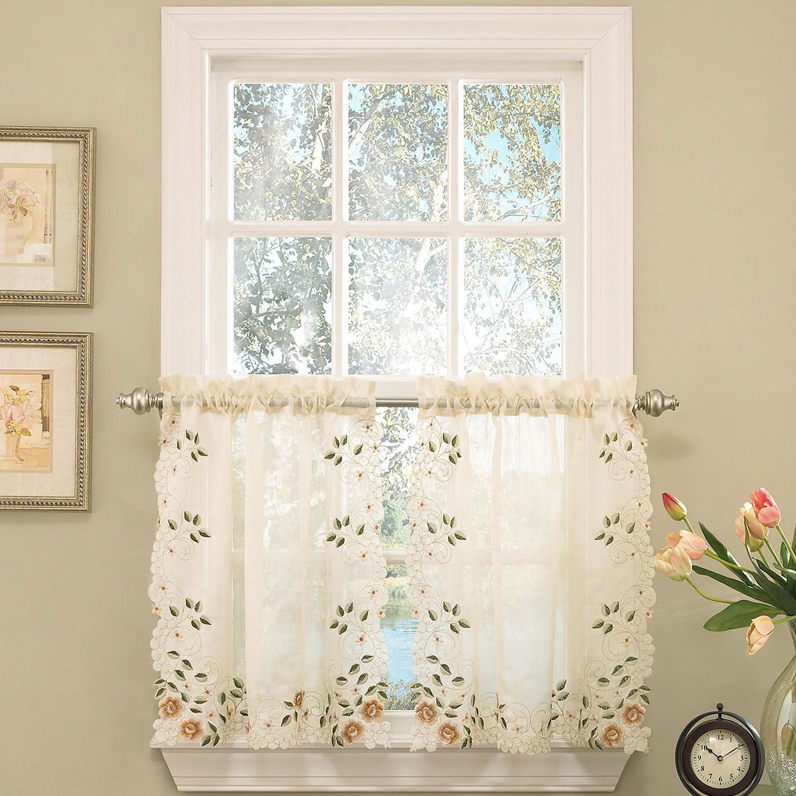 Old world floral embroidered kitchen curtain tier and valance swag