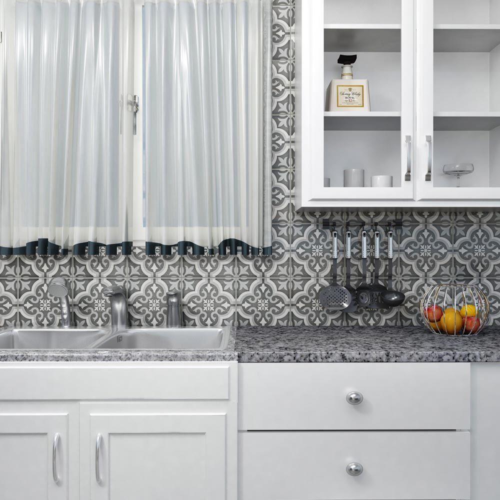Merola Tile Braga Black 7-3/4 in. x 7-3/4 in. Ceramic Floor and ...