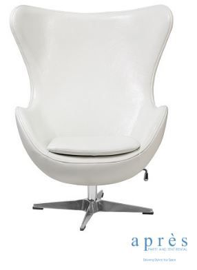 White Leather Egg Chair. $100