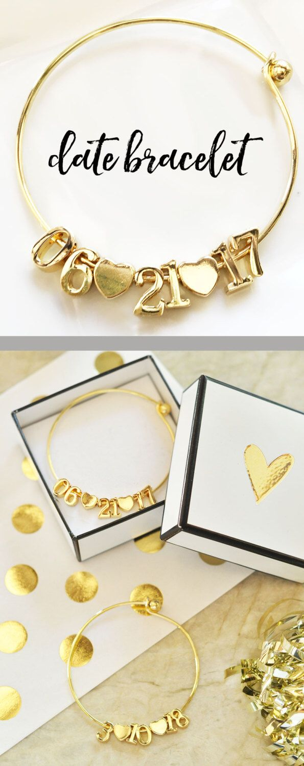 Wedding Bracelets Are A Special Bride Gift Idea From The Maid Of Honor On Her Day Sparkly Bangles Come With Complete Date Month Year