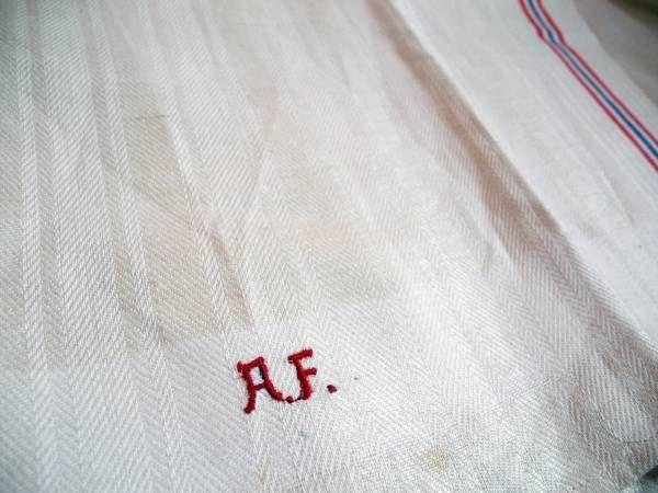 ドイツアンティークリネンキッチンクロス赤ロゴメール便 Antique linen ¥980yen 〆04月13日