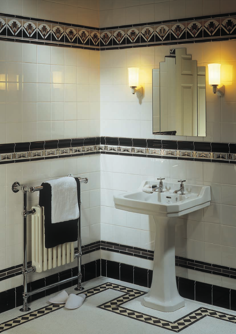 Artworks art art deco manhattan border fan tile victoria White border tiles bathrooms
