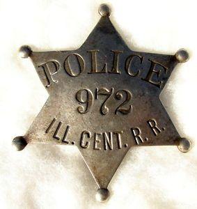 Illinois Central Railroad Police Police Badge Mattoon Badge