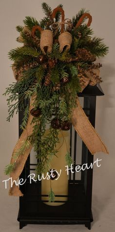 Christmas Lantern Swag With Burlap Ribbon And By Therustyheart