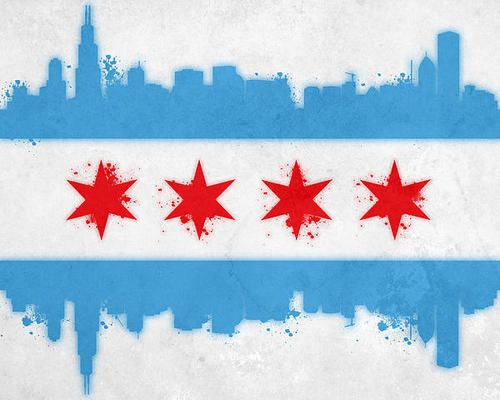 Chicago Flag Art Print By Mike Maher Chicago Flag Art Flag Art Chicago Flag