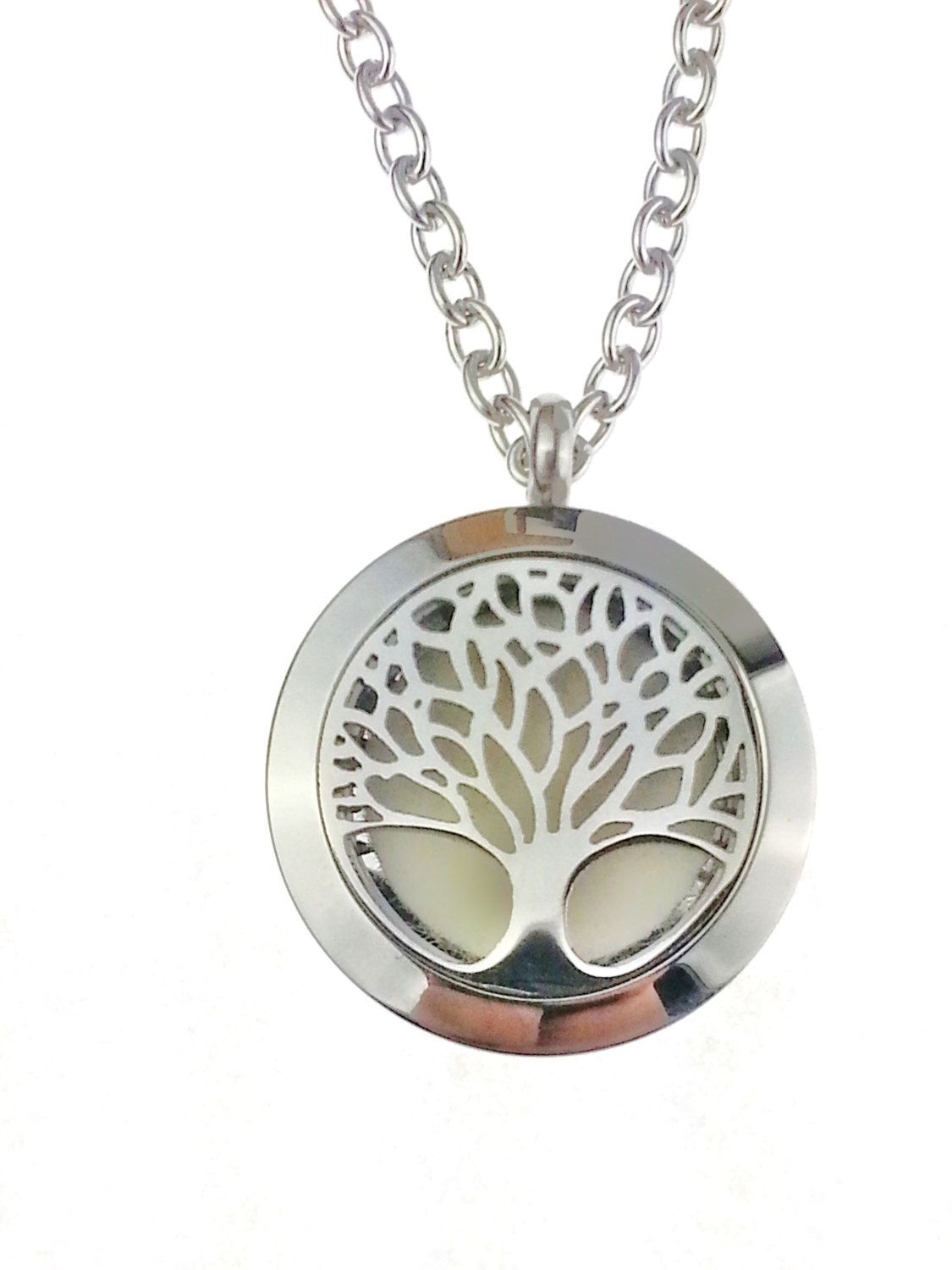 Tree of Life Stainless Steel Diffuser Necklace Pendant Chain Round DIY Crystal